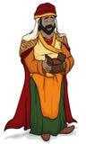 Wise Man Balthazar Holding Myrrh for Baby Jesus in Epiphany, Vector Illustration Stock Photography