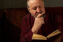 Wise man behind reading by the book Royalty Free Stock Images