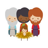 Wise man with offering a baby jesus cartoon Royalty Free Stock Photo