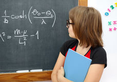 Wise math schoolgirl Royalty Free Stock Images