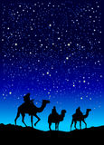 Wise men. Three wise men on their way to Bethlehem Royalty Free Stock Images