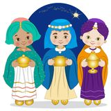 The Wise Men bring gifts to baby jesus royalty free illustration