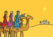 3 Wise Men. A hand drawn vector illustration of the three wise men following the star Royalty Free Stock Photography