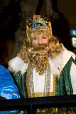 Wise men parade. Caspar King at the Biblical Magi Three Wise Men parade, who give toys to the children. Is a traditional spanish celebration. January 5, 2012 in Stock Photo