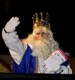 Wise men parade. Melchior King at the Biblical Magi Three Wise Men parade, who give toys to the children. Is a traditional spanish celebration. January 5, 2012 Royalty Free Stock Photos