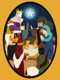 Wise Men Visiting the Holy Family with their Gifts for baby Jesus Royalty Free Stock Image