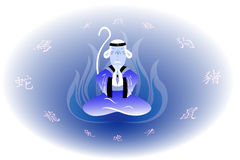 The wise monkey in the ice fire. EPS10 vector illustration Royalty Free Stock Images