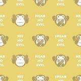 Wise monkey. Seamless background Stock Photography