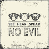 Wise monkeys. Vector illustration. See no evil, hear no evil, speak no evil. wise monkeys. Vector illustration Stock Photography