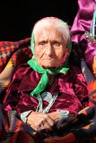 Wise Navajo Elder Wearing Traditional Jewelry Stock Photo