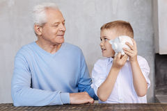 Wise nice grandparent sharing his experience Stock Images