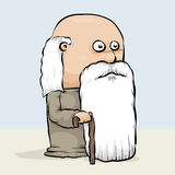 Wise Old Man. A wise, old cartoon man with a cane and a long white beard Stock Image