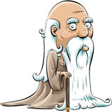Wise Old Man. A wise, old cartoon man with a cane and a long white beard Stock Photos