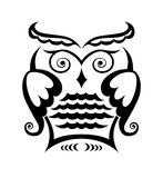 Wise owl. Pure black lines of wise owl Stock Image