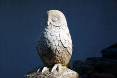 Wise Owl. Gate Guardian - wise old stone owl Stock Image