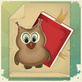 Wise owl and book. On vintage background - illustration Stock Photos