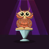 Wise owl with a book on the purple background. Magic and mystery Royalty Free Stock Image