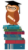Wise owl and books Royalty Free Stock Image