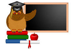 Wise Owl Professor Illustration. Wise Horned Owl Professor Sitting on Books with Chalkboard Apple Diploma and Books in Classroom Illustration Stock Photo