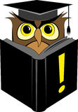 Wise owl reading book Stock Photography