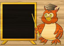 Wise owl relief painting on generated wood texture background Stock Photography