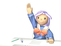 Wise student will cheerfully show of hands. Royalty Free Stock Photos