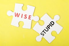 Wise versus stupid concept. On two pieces of jigsaw puzzle stock photo