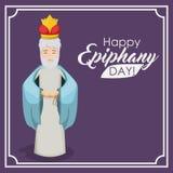 Wiseman cartoon of happy epiphany day design Stock Images