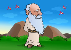 Wiseman muse. Illustration of a smart experienced wise Old man doing muse on nature background Royalty Free Stock Images