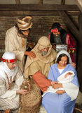Wisemen christmas scene. Live Christmas nativity scene reenacted in a medieval barn Stock Images