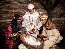 Wisemen com bebê Imagem de Stock Royalty Free