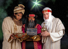 Wisemen gifts. Wisemen Caspar Melchior and Balthasar and their gifts for Jesus Stock Photography