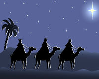 Wisemen going to bethlehem in the night. Illustration of three wisemen in the desert following the Bethlehem star in the violet night Royalty Free Stock Images