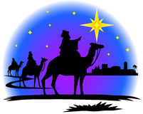 Wisemen silhouette. Illustration of three wisemen following the star of Bethlehem...matching nativity and shepherds also in my portfolio Royalty Free Stock Photo