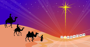 Wisemen silhouette. Three Wisemen with bethlehem in the background Royalty Free Stock Photo
