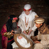 Wisemen som besök Jesus Arkivbilder