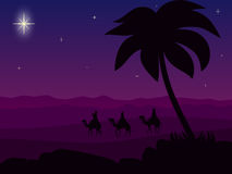 "Wisemen at Sunset. Illustration of the three Wisemen following the star to Bethlehem at sunset. ""Wisemen following the Star"", ""Wisemen in the royalty free illustration"