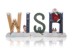 Wish. A Christmas themed sign spelling the word wish Royalty Free Stock Photos