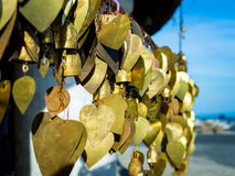 Wish bells and hearts in Buddha temple. Phuket, Thailand Royalty Free Stock Images