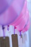 Wish card and colorful balloon. Closeup of wish card and colorful balloons stock image
