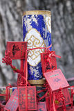 Wish cards bound around a pole in Taoist temple, Beijing, China Royalty Free Stock Photo