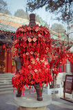 Wish cards in a Buddhist temple in Beijing Stock Photos