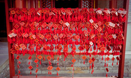 Wish cards in a Buddhist temple in Beijing Stock Image
