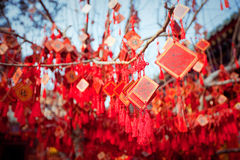 Wish cards in a Buddhist temple in Beijing Royalty Free Stock Photography