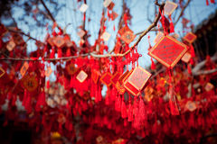 Wish cards in a Buddhist temple in Beijing Stock Photo
