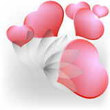Wish. Cards with hearts and flowers without text Royalty Free Stock Image