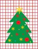 Wish Christmas tree. On plaid background Royalty Free Stock Image