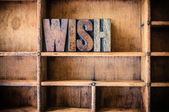 Wish Concept Wooden Letterpress Theme Royalty Free Stock Photo