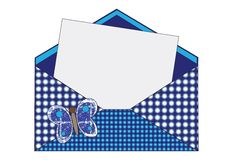 Wish Envelope. Blue envelope with butterfly for wish Royalty Free Stock Photos