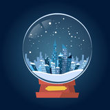 Wish Glass Ball Winter City View Snow Royalty Free Stock Images